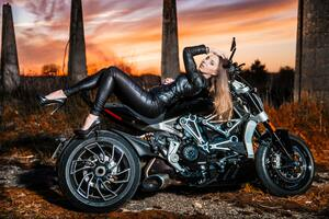Ducati Diavel And Girl Wallpaper