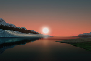 Dunes Minimal Night Windows 11 Wallpaper