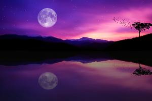 Dusk Full Moon Reflection 5k