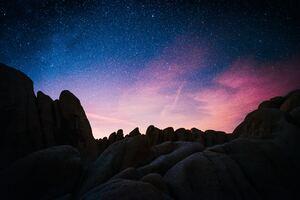 Dusk Red Blue Stars Sky Night Rocks 4k Wallpaper