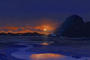 Dusky Winter Sunset 4k Wallpaper