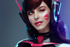 Dva From Overwatch Cosplay Wallpaper