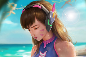 Dva Overwatch Beach Wallpaper