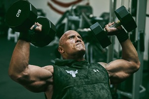 Dwayne Johnson Lifting Dumbbells