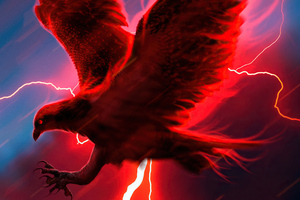 Eagle Struck By Lightning 4k Wallpaper