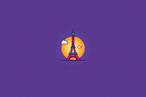 Eiffel Tower Minimal 4k
