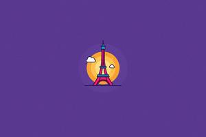 Eiffel Tower Minimal 4k