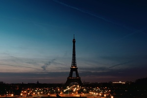 Eiffel Tower Night Time Clear Sky