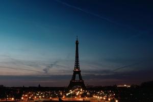 Eiffel Tower Night Time Clear Sky Wallpaper
