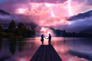 Electric Love Couple Holdings Hands At Pier Wallpaper