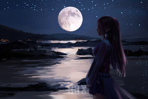 Elf Moonset River Fantasy Art 4k