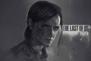 Ellie The Last Of Us Part 2 Monochrome Poster 4k