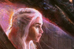 Emilia Clarke Daenerys Art Wallpaper