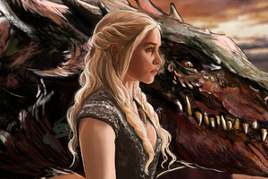 Emilia Clarke Daenerys Targayen And Dragon Artwork 5k