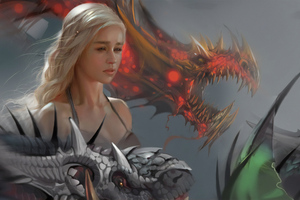Emilia Clarke Daenerys Targayen Dragon Wallpaper