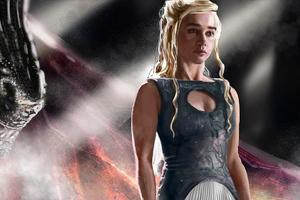 Emilia Clarke Daenerys With Dragon