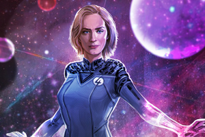 Emily Blunt As Sue Storm Artwork Wallpaper