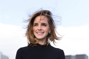 Emma Watson Cute Smiling Hairs In Air