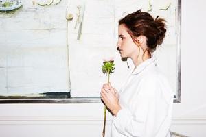 Emma Watson Holding Flower Wallpaper
