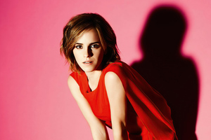 Emma Watson In Red Dress Short Hairs 4k Wallpaper