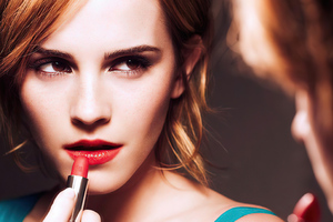 Emma Watson Putting On Lipstick