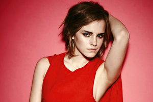 Emma Watson Short Hair Red Dress 4k Wallpaper