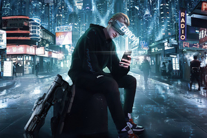 Error In City Cyberpunk Boy 4k Wallpaper