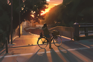 Evening Cycle Ride 4k Wallpaper