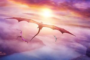 Evening Flight Of Dragons 4k Wallpaper