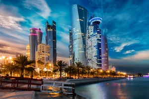 Evening Houses Skyscrapers Qatar 5k Wallpaper