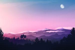 Evening Landscape Minimal 4k Wallpaper
