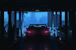 Evening Ride Car Painting Wallpaper