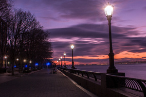 Evening Street Lamp Beside Bay 4k