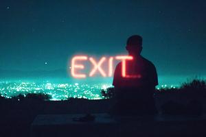Exit Neon Boy Standing Silhouette Wallpaper