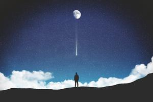Falling Moon 4k Wallpaper