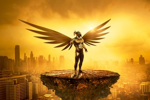 Fantasy Angel Gold Digital Art 5k