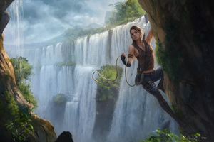 Fantasy Girl Climbing Through The Waterfall Wallpaper