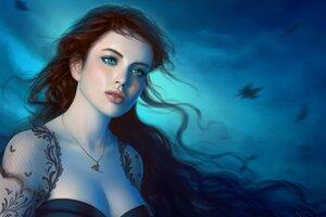 Fantasy Girl Green Eyes Wallpaper