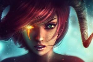 Fantasy Girl Horns Red Head Green Eyes Wallpaper