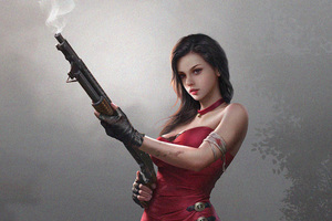 Fantasy Girl In Red Dress With Gun 4k Wallpaper