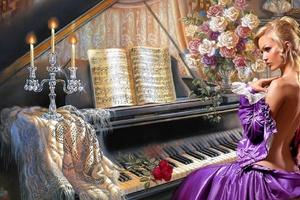 Fantasy Girl Piano Wallpaper