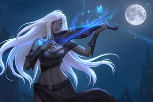 Fantasy Girl Playing Violin Wallpaper