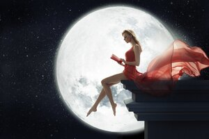 Fantasy Girl Sitting On Roof Reading Book Moon