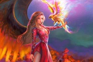 Fantasy Girl With Phoenix