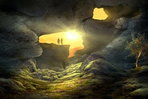 Fantasy Landscape Cave Human Wallpaper