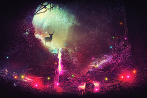 Fantasy Magic Deer Artwork 4k