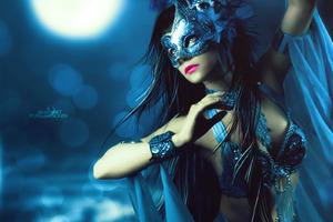 Fantasy Mask Girl Wallpaper