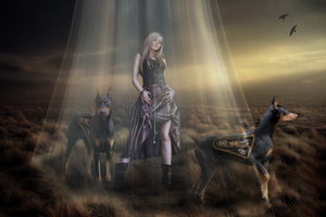 Fantasy Women With Dogs Wallpaper