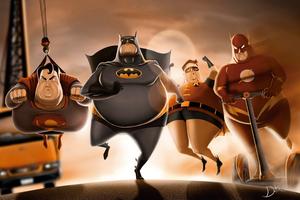 Fat Superheroes Wallpaper