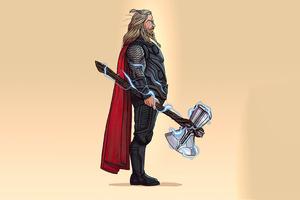 Fat Thor 4k Minimalism Wallpaper